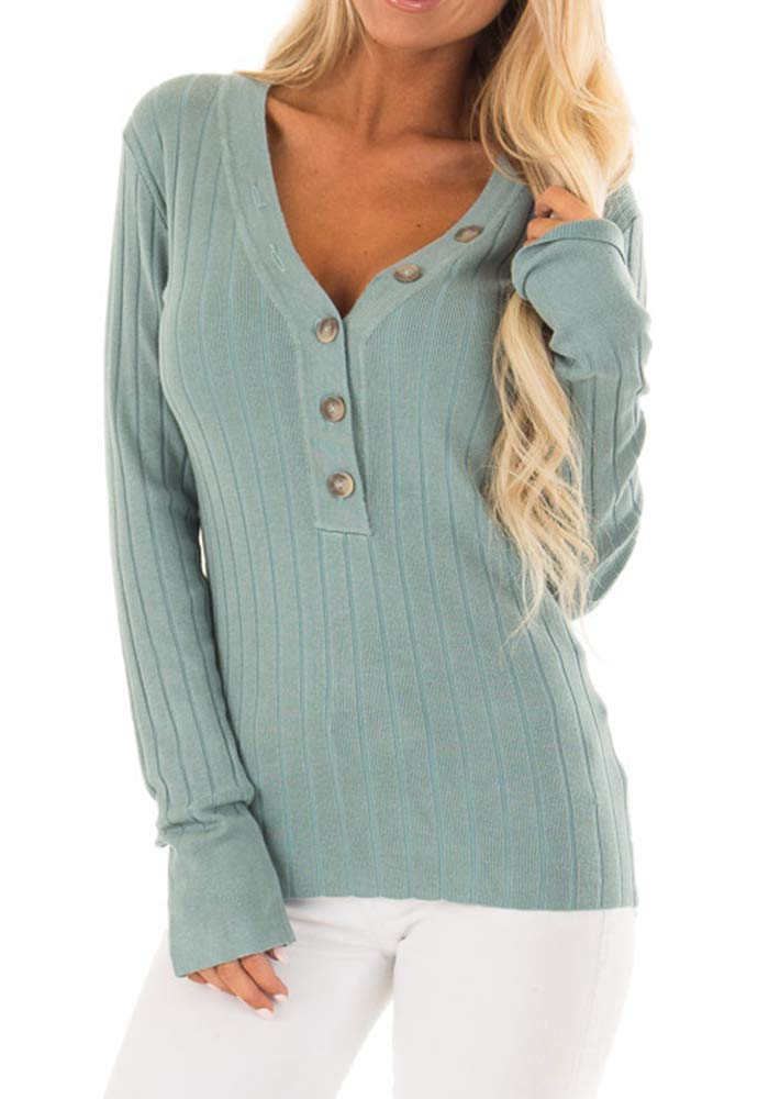 Liyuandian Womens Ribbed Button Up Sweater V Neck Long Sleeve Plain Knit Henley Tops