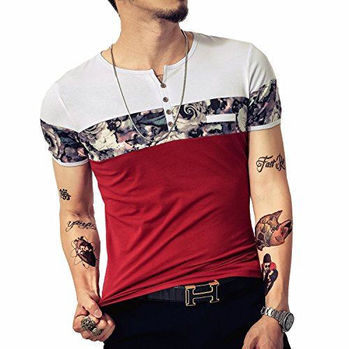LOGEEYAR Men's Casual Slim Fit Long Sleeve Color Block Printing Henley T-Shirts (X-Large, 527-red) (Best Color Mode For Printing)