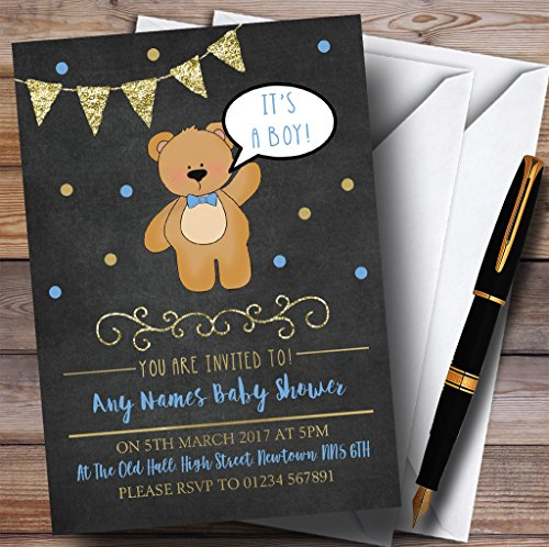 Chalk Gold Boys Teddy Bear Invitations Baby Shower Invitations