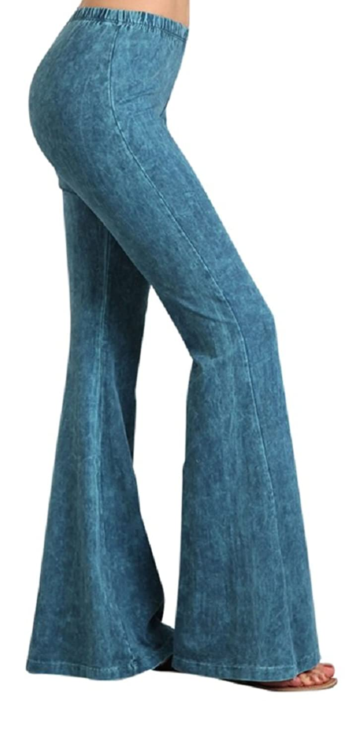 2Chique Boutique Women's Cyan Mineral Washed Bell Bottom Flare Pants