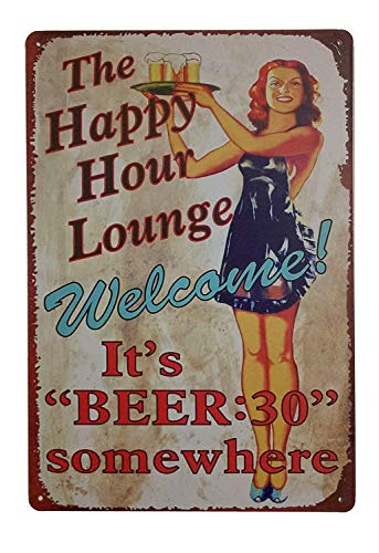 Forever_USA Tin Sign | Metal Wall Sign | The Happy Hour Lounge Beer Time 8 x 12 in. | Fun Decorative Sign for Home Kitchen Bar Room Garage Decor | Vintage & Retro Beer Style (Decorative Beer Signs)