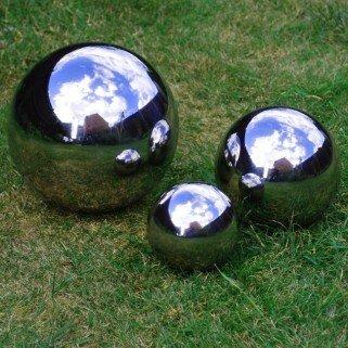 3er Set - Hübschen Spiegel Kugeln, Garten Deko aus Edelstahl 9 cm ...