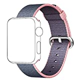 Band for Apple Watch 38mm,QIFIT Third Party Fine Woven Nylon Wrist Strap Bracelet Replacement Band with Stainless Steel Buckle for Apple Watch Series 2 / 1, Sport, Edition,38mm,Lightpink Midnightblue