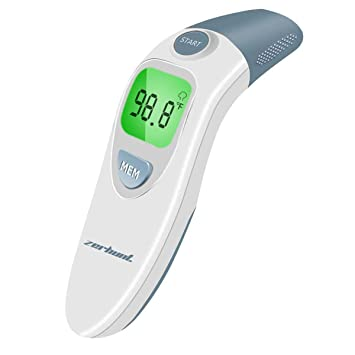White Adults Digital Infrared Non-Contact Temporal with Instant Accurate Reading,Fever Alarm and Memory Function Indoor Forehead Thermometer Ideal for Babies Children Infants and Outdoor Use