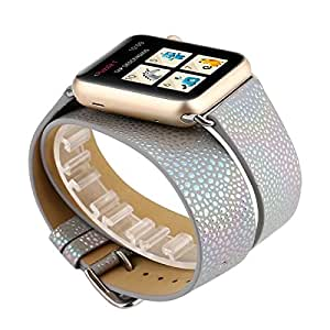 Leather Double Tour Watch Band 42mm, Iridescent Bling iWatch Strap Wristband with Metal Adapter for 42mm Apple Watch Series 3/Series 2/Series 1 (42mm,Grey)