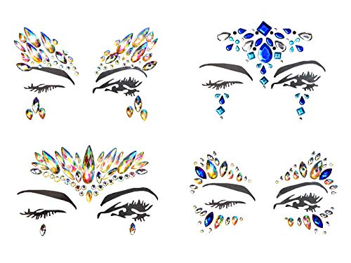- Yolito 4 Pcs Face Gems Jewelry Temporary Sticker Rhinestone Adhesive Multi-Color for Forehead Decorations