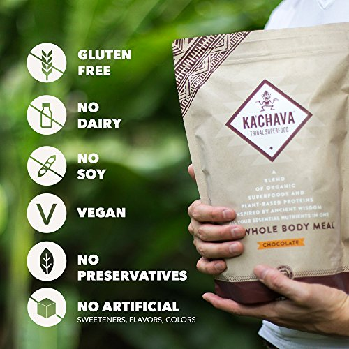 Ka'Chava Meal Replacement Shake - A Blend of Organic Superfoods and Plant-Based Protein - The Ultimate All-In-One Whole Body Meal. (Chocolate) 960g Bag = 15 meals (64g serving size)