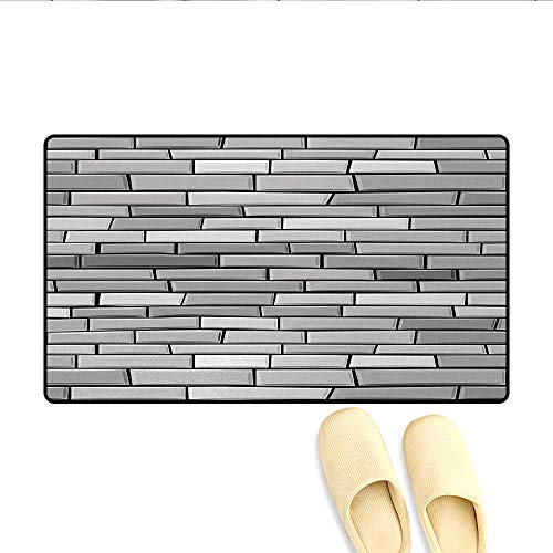 "Doormat,Illustration of Brick Wall Contemporary Artptrint 3D Vision Modern Shabby Decorative Home,Floor Mat Bath Mat for Tub,Gray,Size:16""x24"""