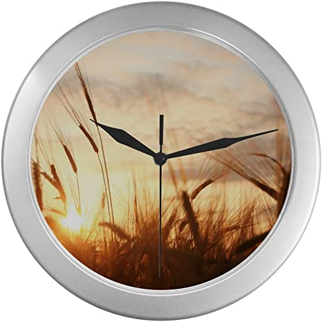 Colorful Wall Clock Country Farm Sunset Scene Clocks For Bedrooms Walls 9 65 Inch Silver Quartz Frame Decor For Office School Kitchen Living Room Bedroom Home Kitchen