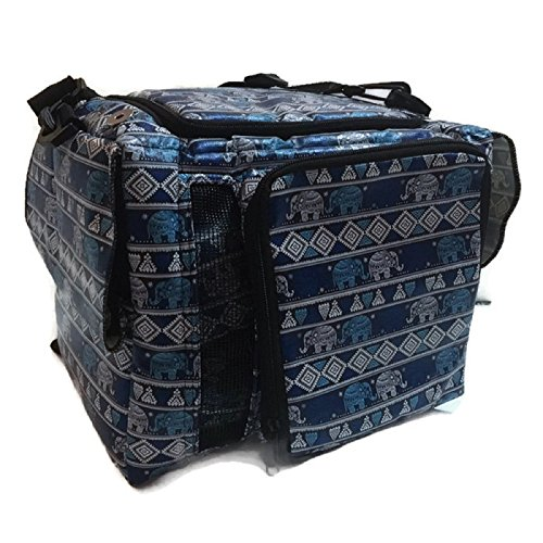 Hot Sale! PU Leather Thailand Classic Blue Elephant Style Puppy Kitten Sugar Glider Birds Prairie dog Chinchillas Small Pet Travel Cage Shoulder Bag Kennel Carrier By Polar Bear's Republic