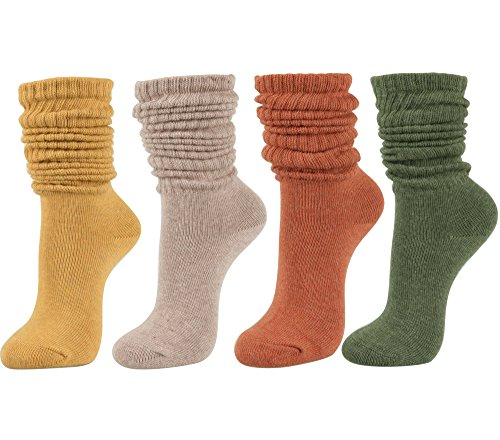 Women's Fall Winter Slouch Knit Socks (Basic Cotton Knit_Rib Color_4Pair) (Fall Winter Boots)