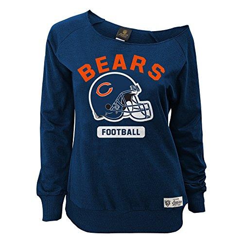 Outerstuff NFL Junior Girls Wide Receiver Long Sleeve Boat Neck Sweatshirt, Chicago Bears, Deep Obsidian, L(11-13)