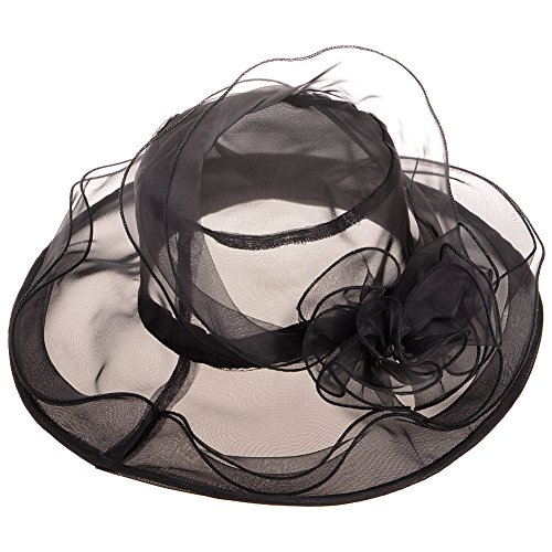 Vbiger Womens Kentucky Derby Hats Organza Church Fascinator Hat Wide Brim Sun Hat Tea Party Wedding Hats]()