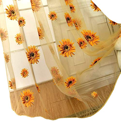 (Voile Tulle Door Window Curtain, Elegant Yellow Sunflower Floral Print Window Sheer Gauze Panel Drapes Balcony Curtains, Flower Voile Sheer Curtains Window Treatments, Rod Pocket, 78
