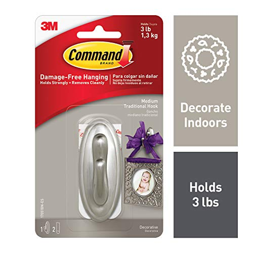 (Command 3 lb Capacity Silver Traditional Hook, Indoor Use (17051BN-ES))