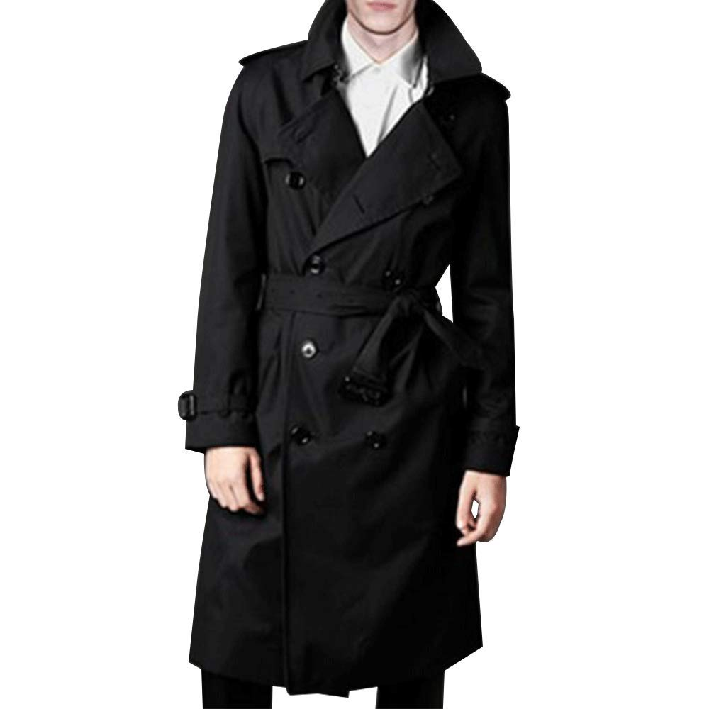 LINGMIN Men's Double Breasted Trench Coat Casual Lapel Long Sleeve Windbreaker Jacket Black by LINGMIN