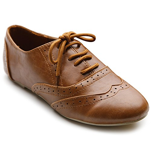 Ollio Women's Shoe Classic Lace Up Dress Low Flat Heel Oxford M1914(8 B(M) US, Brown)