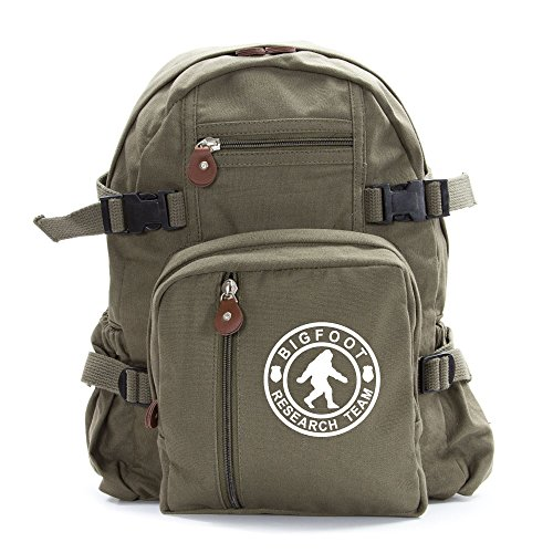 Bigfoot Research Team Army Sport Heavyweight Canvas Backpack Bag in Olive & White, Large