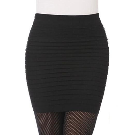 Faldas, Challeng 1PC Fashion Womens plisado elástico paquete de cintura alta cadera falda corta (negro): Amazon.es: Belleza