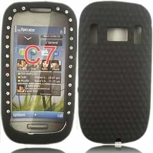 Diamante Silicona Cubrir Caso Piel Para Nokia C7 / Black