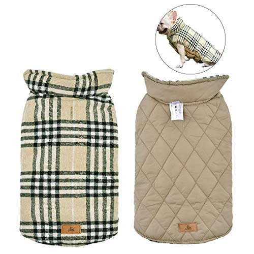 (Dog Coat Waterproof Reversible British Style Plaid Pet Jacket Dog Sweaters Windproof Winter Vest Small Medium Large Dog Clothes with Furry Collar Beige)