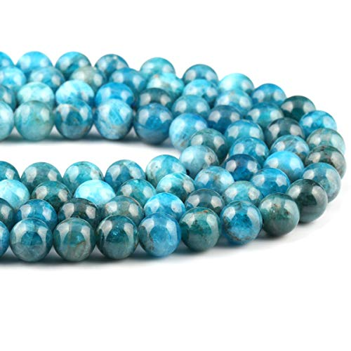 Natural Stone Beads Blue Apatite Round Loose Beads for Bracelet Necklace Jewelry Making 1 Strand 15""