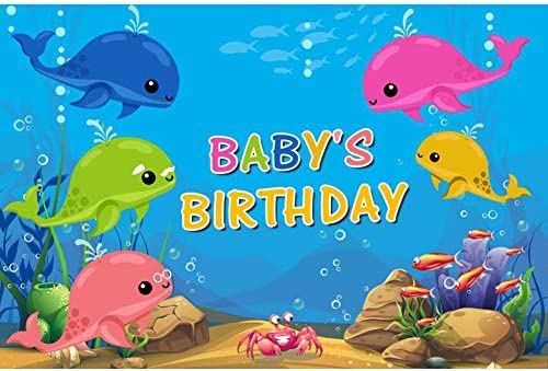 SZZWY Babys Birthday Backdrop 10x6.5ft Photography Background Underwater World Fish Bubbles Baby Whale Backdrops Cartoon Whales Cute Children Newborn Kids Party Banner Photo Props Customizable