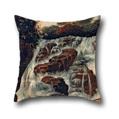 20 X 20 Inches / 50 By 50 Cm Oil Painting Manuel De Araújo Porto-Alegre - Great Tijuca Waterfall Throw Pillow Case,two Sides Is Fit For Living Room,sofa,seat,floor,boy Friend,monther