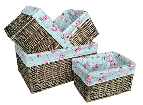 Set of 4 Antique Wash Cottage Willow Storage Baskets by Red Hamper