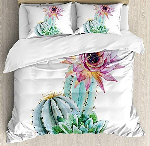 (wanxinfu Cactus 4 Piece Bedding Set Full Size, Cactus Spikes Flower in Hot Mexican Desert Sand Botanical Natural Image, 4 Pcs Duvet Cover Set Comforter Cover Bedspread with 2 Pillow Cases)