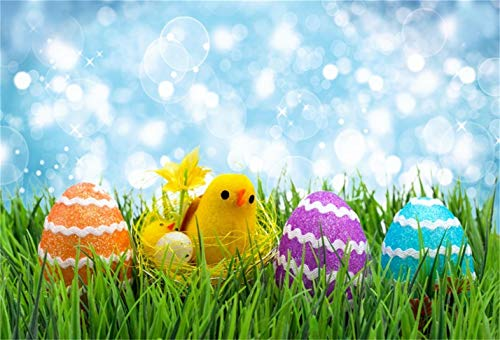 CSFOTO 7x5ft Background for Easter Eggs Yellow Chick on Green Grass Bokeh Halos Photography Backdrop Springtime Fresh Happy Celebration Birth Child Newborn Photo Studio Props Polyester -