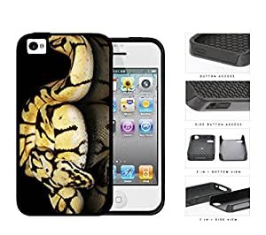 Ball Python Snake On Mirrored Surface 2-Piece Dual Layer High Impact Rubber Silicone Cell Phone Case Apple iPhone 4 4s by icecream design