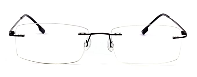 77cf4b06b3d Agstum Titanium Alloy Flexible Rimless Hinged Frame Prescription Eyeglasses  Rx (Black
