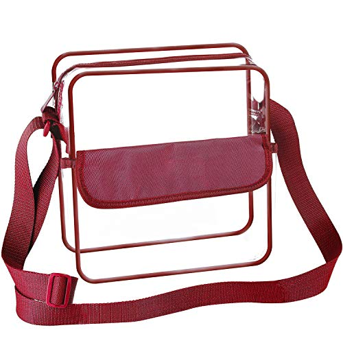 Nfl Sports Bag Purse - BAGAIL Clear Purse NFL &PGA Approved Cross-Body Shoulder Messenger Bag with Adjustable Strap (Burgundy, 12x12x6inch)