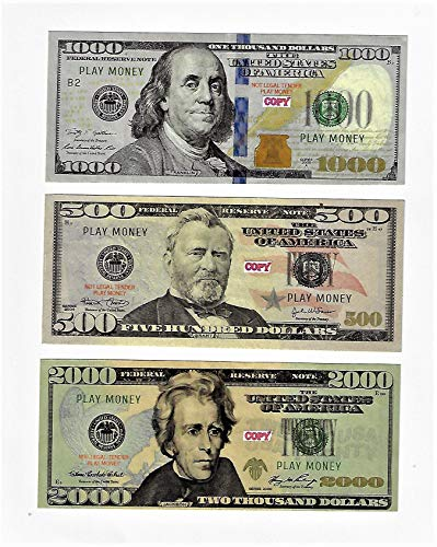 Play Money 500/1000/2000 bills best Novelty Movie Prop Prank Money Fake 60x Size 2.30 x 5.5