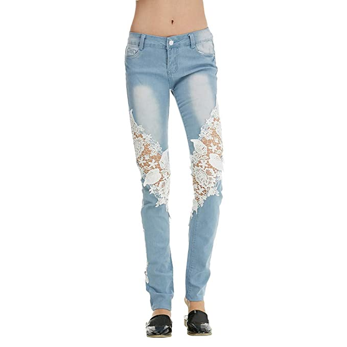 Lenfesh Jeans para Mujer Pantalones de Encaje Mujer ...