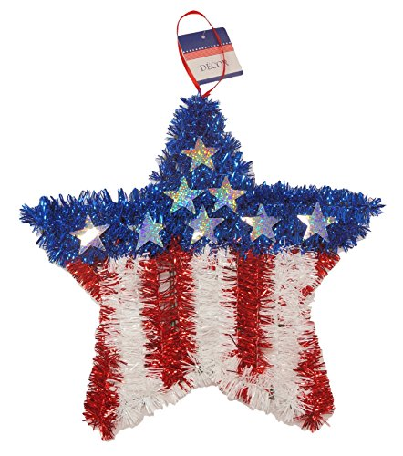 Patriotic Stars and Stripes Tinsel Star Decoration