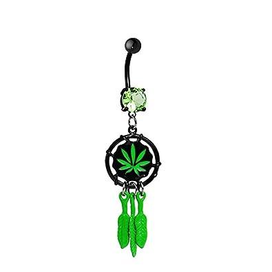 Charmingoutfit Body Jewelry Peridot Gem Pot Marijuana Leaf Dreamcatcher Belly Ring Navel Ring Belly Button