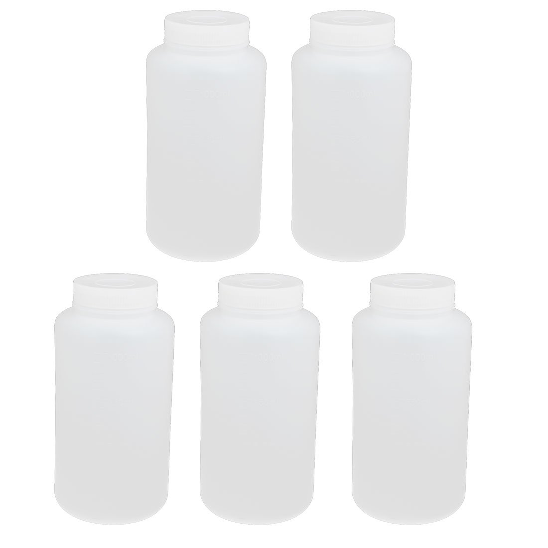 uxcell 5pcs 1000ml PE Plastic Wide Mouth Sealed Liquid Storage Bottle Container White