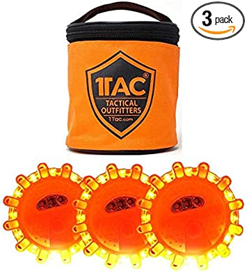 5 1TAC 3Pack LED Road Flare Discs With Zip Pouch 15 LED Emitters Per Disc 9 Modes Of Emergency Light Magnetic Base Utility Hook Waterproof Crush Proof Shock Proof Can Be Seen Up To 5000 Feet Away