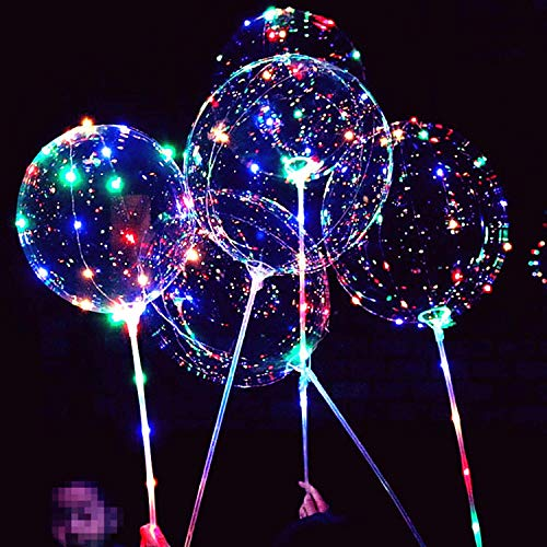 LED Light Up Bobo Balloon,8 Packs Flashing Handles,20 Inches Bubble Bobo Balloon,70 cm Sticks,Christmas Birthday Party Decoration