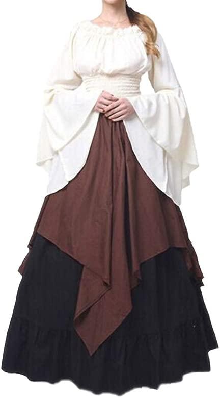 Mujeres Vestido Largo Vintage Traje Medieval Mujer Víspera de Todos los Santos Fiesta Disfraz con Mangas Acampanadas Victoriano Renacentista Vestido