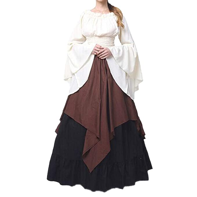 48d40e1d772c Donna Vestiti Abito Vintage Girocollo Manica Lunga Elegante Abiti Giuntura  Orlo Irregolare Donna Vestiti Lunghi A