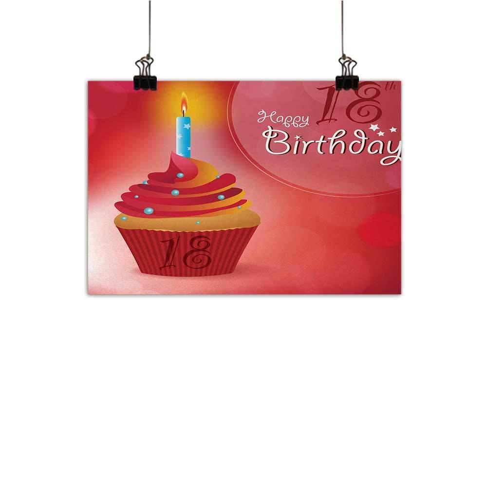 Anzhutwelve 18歳の誕生日 ウォールアート 装飾ポスター 絵画 フライングパーティー バルーン カーリーロープ付き 18歳 イメージ アートプリント デコレーション ホームデコレーション レッド グリーン ブルー 20インチx16インチ 35