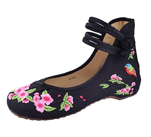 Lazutom Women Lady Vintage Embroidery Chinese Comfort Canvas Mary Jane Party Dress Shoes Black