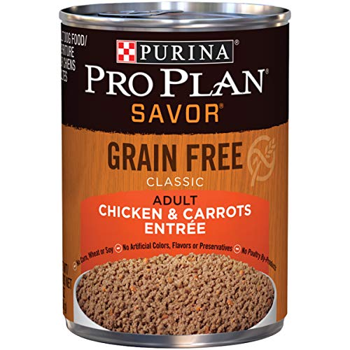Purina Pro Plan Grain Free Pate Wet Dog Food, SAVOR Chicken & Carrots Entree - (12) 13 oz. Cans