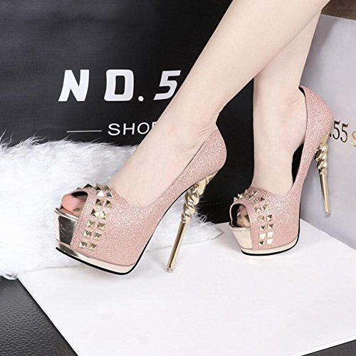 Rivet Taiwan Heels Night High Women Shop Waterproof Pink Fish Sequins With Shoes Mouth Thin fY6qwxZE