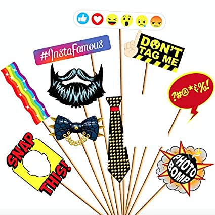 Amazoncom Birthday Photo Booth Props Kit Novelty Social Media