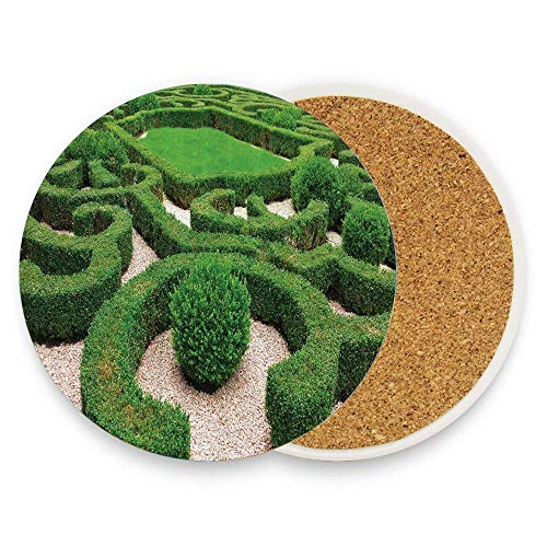 (Photo of Symmetric Complexity Garden Park Topiary Shrub on Gravels Ceramic Coaster Glass Cup Holder Coffee Mug Place Mat for Drinks Pack Of 1)