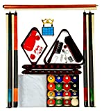 Billiard Pool Table Accessory Kit W/ Antique Style Ball Set Mahogany Finish